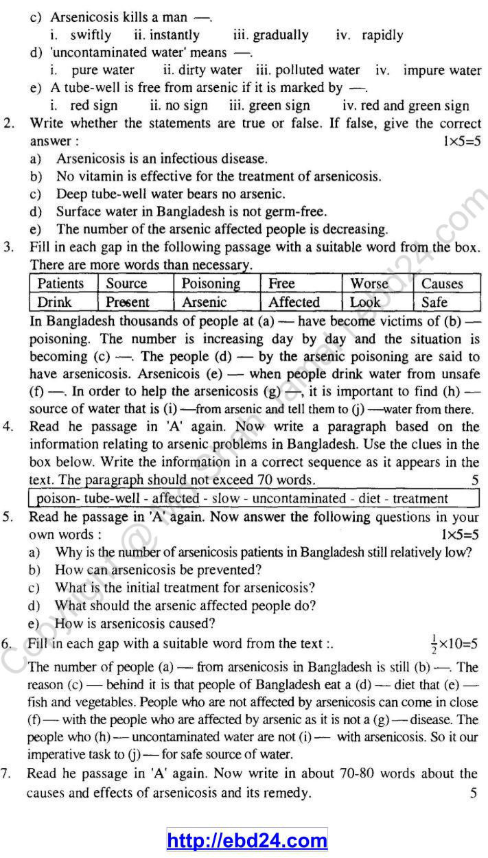 English Suggestion and Question Patterns of SSC Examination 2014