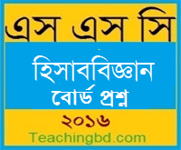 Accounting Board Question 2016 Rajshahi Board